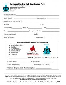 thumbnail of Kamloops Skating Club Registration Form